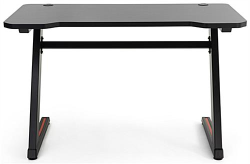 Gaming desk computer table features two matte black z-shaped legs