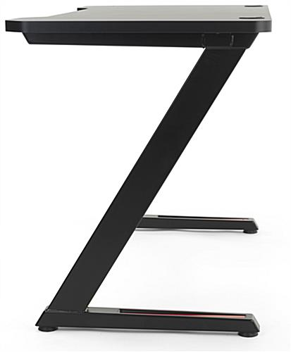 Rectangular gaming desk computer table with z-shaped design