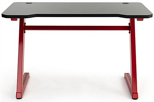Ergonomic gaming z desk with red powder coated finish