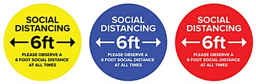 Social distance vinyl decal with non-skid adhesive backing