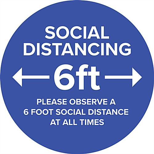 Blue social distance vinyl decal with full bleed printing