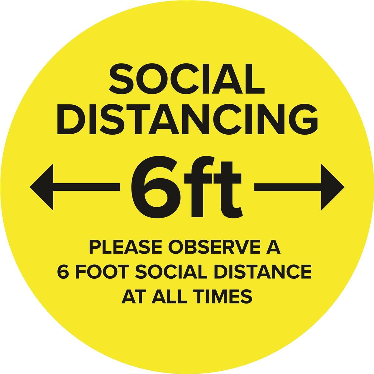 Yellow social distance vinyl decal with textured non-slip top surface