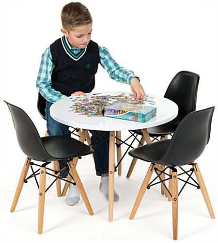 Child size modern seating set 4 black plastic chairs - Modern daycare furniture ...