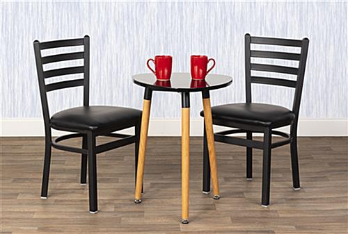 Steel side chair have an overall height of 33 inches