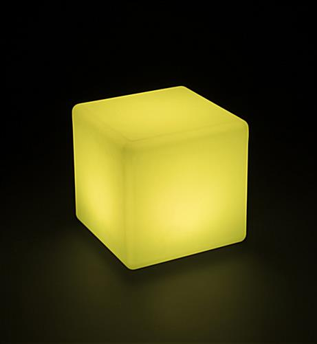 Light Up Cube Table Stool in Yellow Light