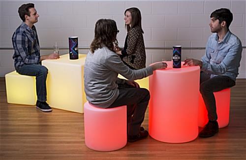 Light Up Cube Table Stool with Rechargeable Battery
