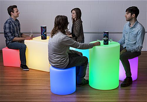 Light Up Round Cocktail Table Stool with Multicolor LED Illumination