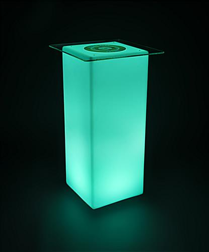 Logo LED highboy table with teal LED lights