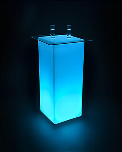 LED lighted cocktail table lights up in teal and 15 other colors