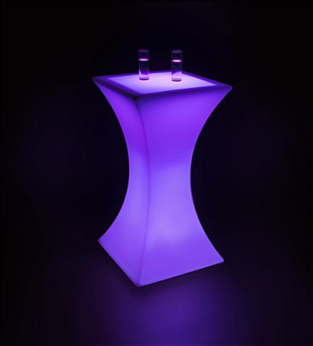 Purple LED Hourglass Pub Table