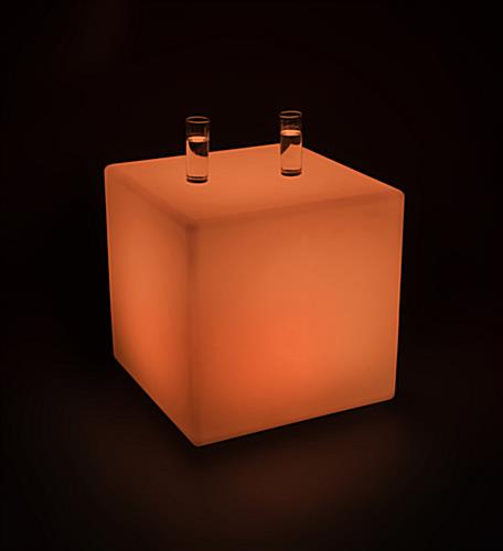 LED Cube Table with Orange Color