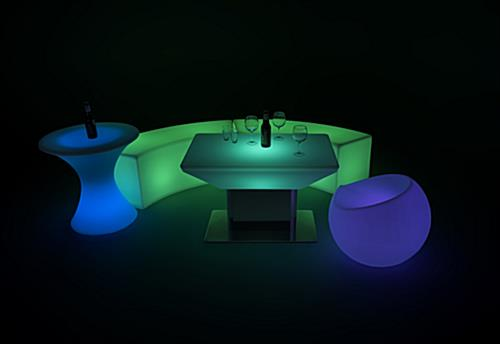 pair modern LED glow coffee table with seating