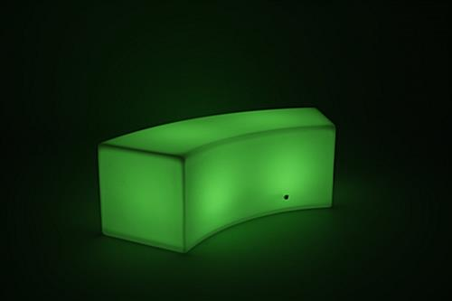 soft glow LED serpentine bench