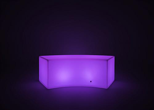LED serpentine bench with 16 color options