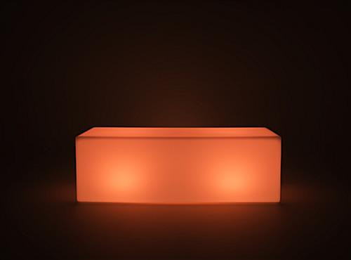 gently lit LED lounge bench