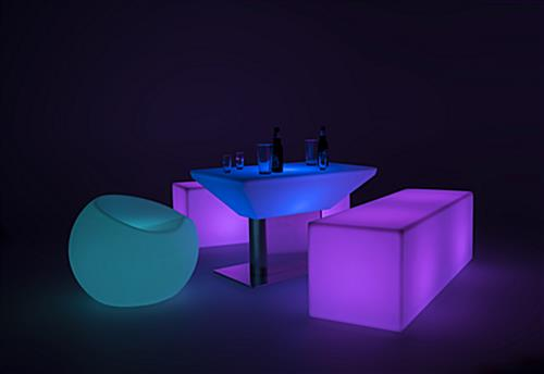 LED lounge bench complements other light up pieces