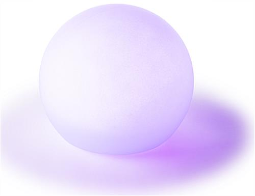 LED ball lamp with has a soft lavender hue as one of its 16 color options
