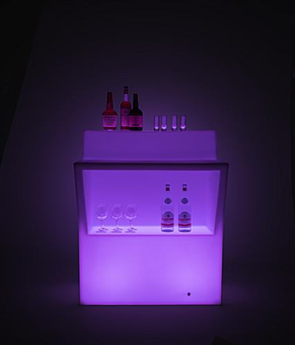 illuminated LED bar with underneath storage