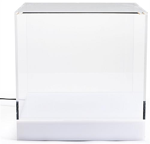 LED lighted display cube with illuminated base turned off