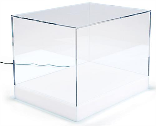 Countertop led collectables display case with 16 color base