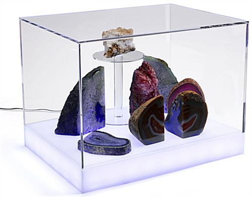 Countertop led collectables display case made of clear acrylic