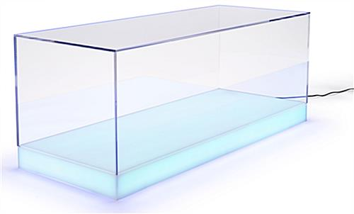 Lighted acrylic display case with light blue LED base