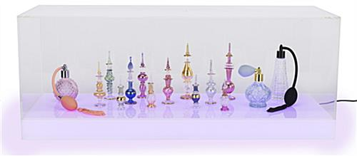 Lighted acrylic display case in large rectange shape for countertop space