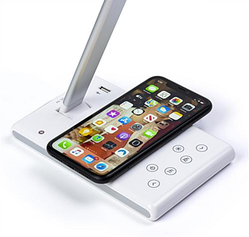 Branded phone charging task lamp with wireless charger