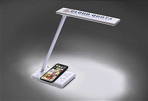 Branded phone charging task lamp with LED illumination