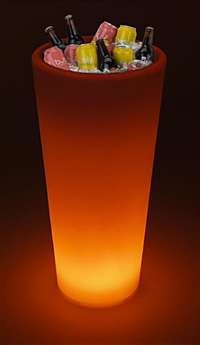 LED ice bucket/planter with orange illumination and beverage storage