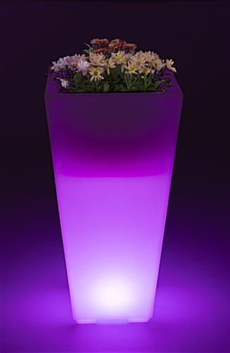 Large LED ice bucket pot  with purple illumination and flowers