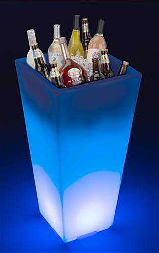 LED ice bucket pot with static, flashing, strobing or fading transitions
