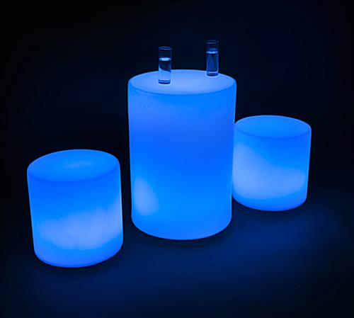 Blue Colored Illuminated Cocktail Table Set