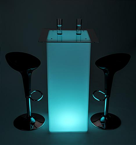 Glowing high boy cocktail table set with LED lighting in 16 colors