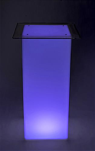 Glowing high boy cocktail table set with LED lighting and multiple color options