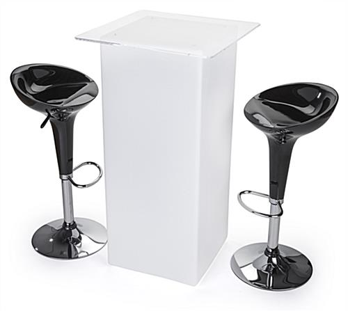 Glowing high boy cocktail table set with LED lighting and 2 black ABS stools