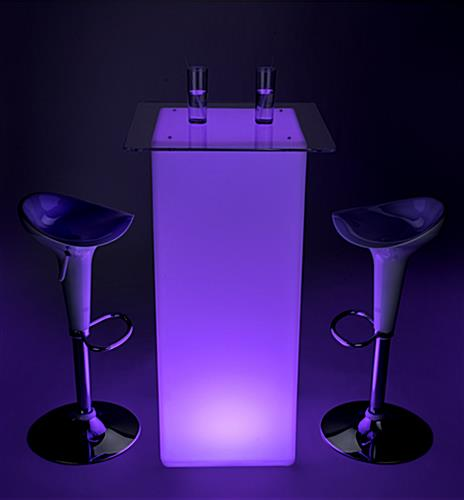 LED tall boy bar table set lit with bright colorful light