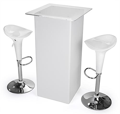 LED tall boy bar table set with pub-height tabletop and 2 stools