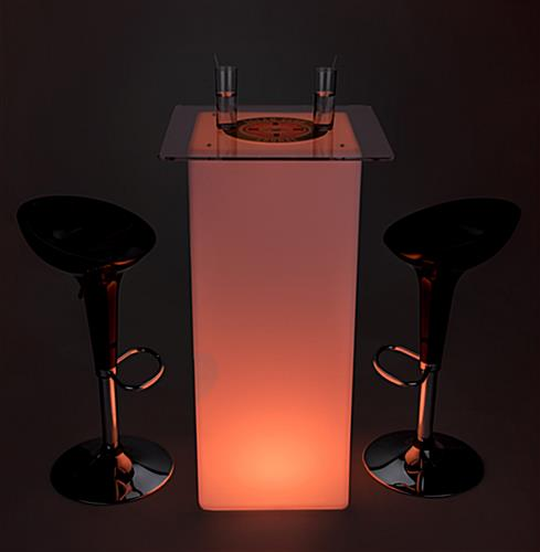 Branded LED highboy table set with logo printed top and glowing light