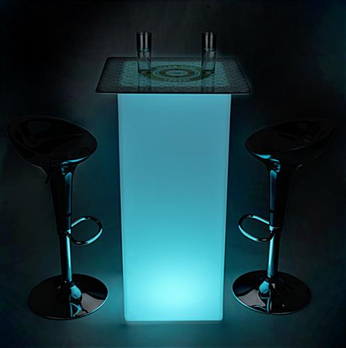 Full Bleed Print & Teal LEDs on Branded LED highboy table set