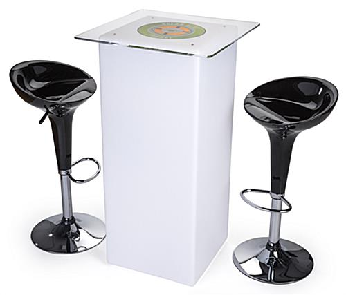 Branded LED highboy table set with 2 black ABS stools