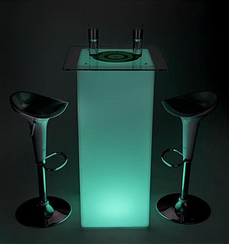 LED custom square cocktail table set with green lights and printed top