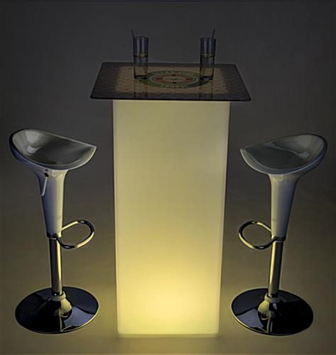 Full-Bleed Printed Tabletop on LED custom square cocktail table set