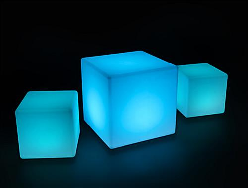 Illuminated Lounge Table Set in Blue Light Colors