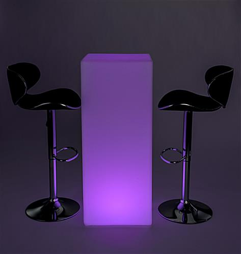 Illuminated LED tall boy bar table set for lounge and events