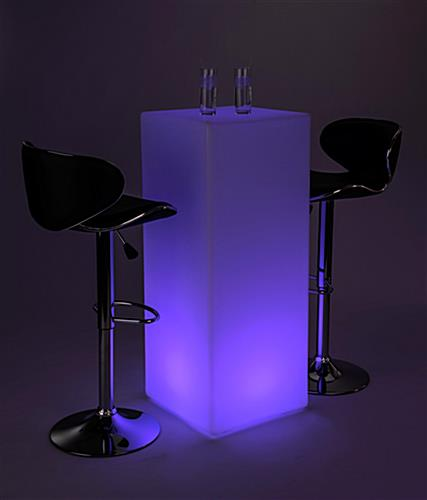 LED tall boy bar table set with 16 color settings
