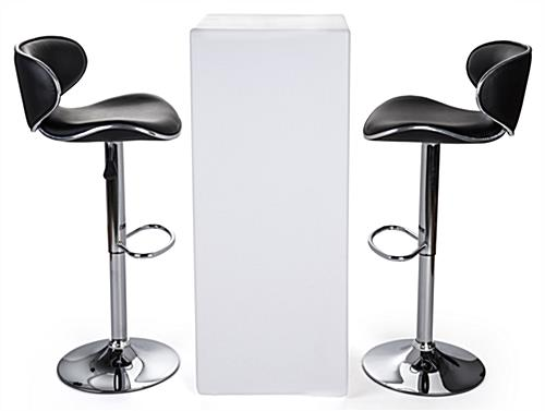 LED tall boy bar table set with two leatherette stools