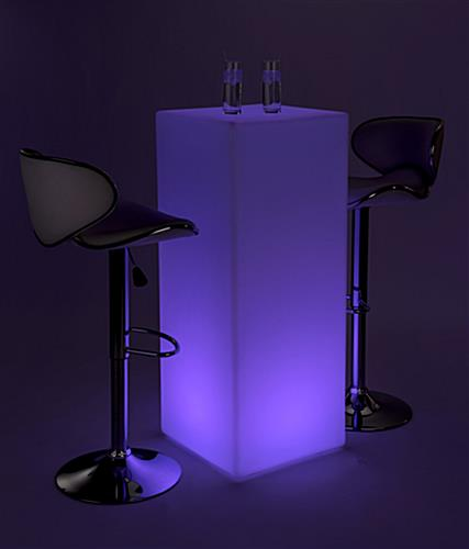 LED tall boy table set with 16 light color settings