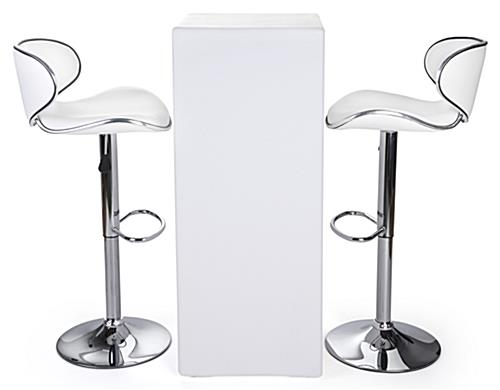 LED tall boy table set with 2 white leatherette stools