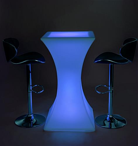 Hourglass LED pub table set with mood setting lights
